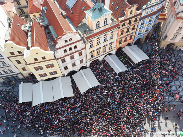 Astronomical Clock Tower / Old Town Hall Tower crowd   Cool Prague Experiences   Czech Republic / Czechia   What to do in Prague, best prague things to see and do