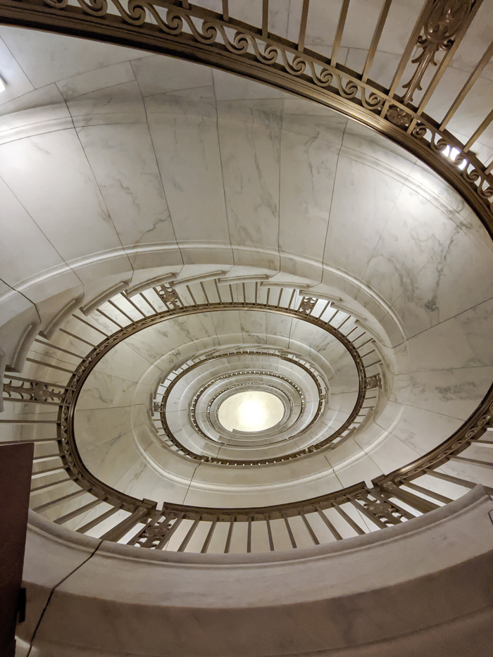spiral staircase inside the Supreme Court | Another long weekend in Washington, D.C.