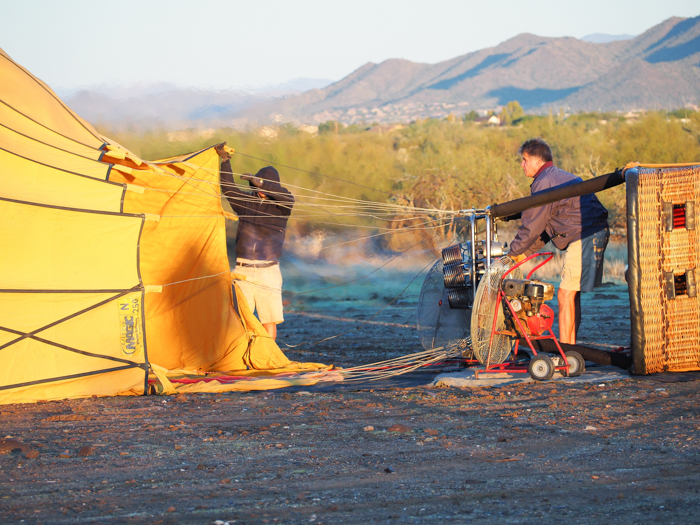 Blowing up the hot air balloon   What You Need to Know for Your Sunrise Hot Air Balloon Ride in Arizona   Scottsdale and Phoenix, Arizona hot air balloon rides with Hot Air Expeditions