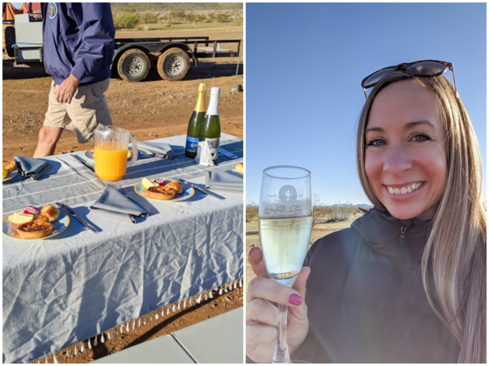 Brunch and champagne toast   What You Need to Know for Your Sunrise Hot Air Balloon Ride in Arizona   Scottsdale and Phoenix, Arizona hot air balloon rides with Hot Air Expeditions
