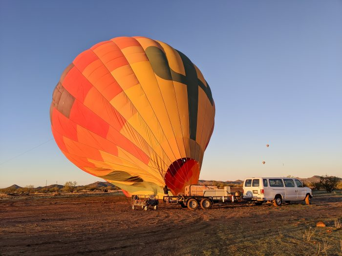 Inflating the hot air balloon   What You Need to Know for Your Sunrise Hot Air Balloon Ride in Arizona   Scottsdale and Phoenix, Arizona hot air balloon rides with Hot Air Expeditions