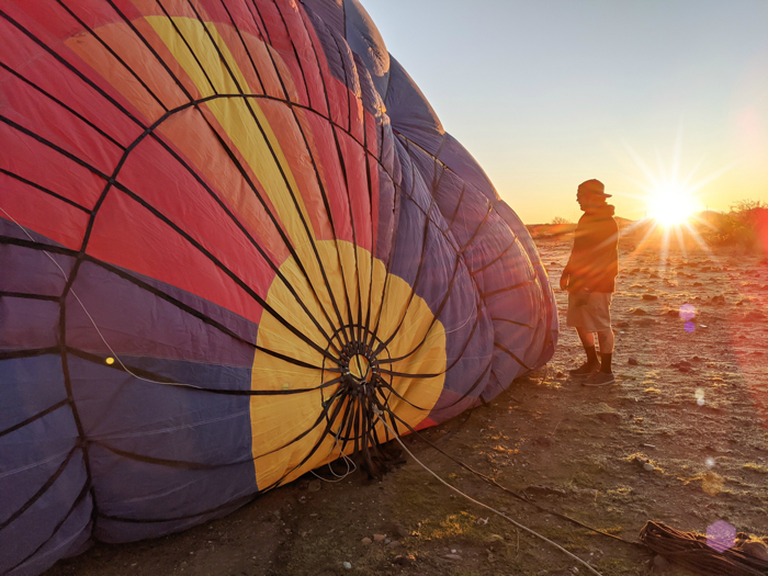 Inflating the balloon at sunrise   What You Need to Know for Your Sunrise Hot Air Balloon Ride in Arizona   Scottsdale and Phoenix, Arizona hot air balloon rides with Hot Air Expeditions