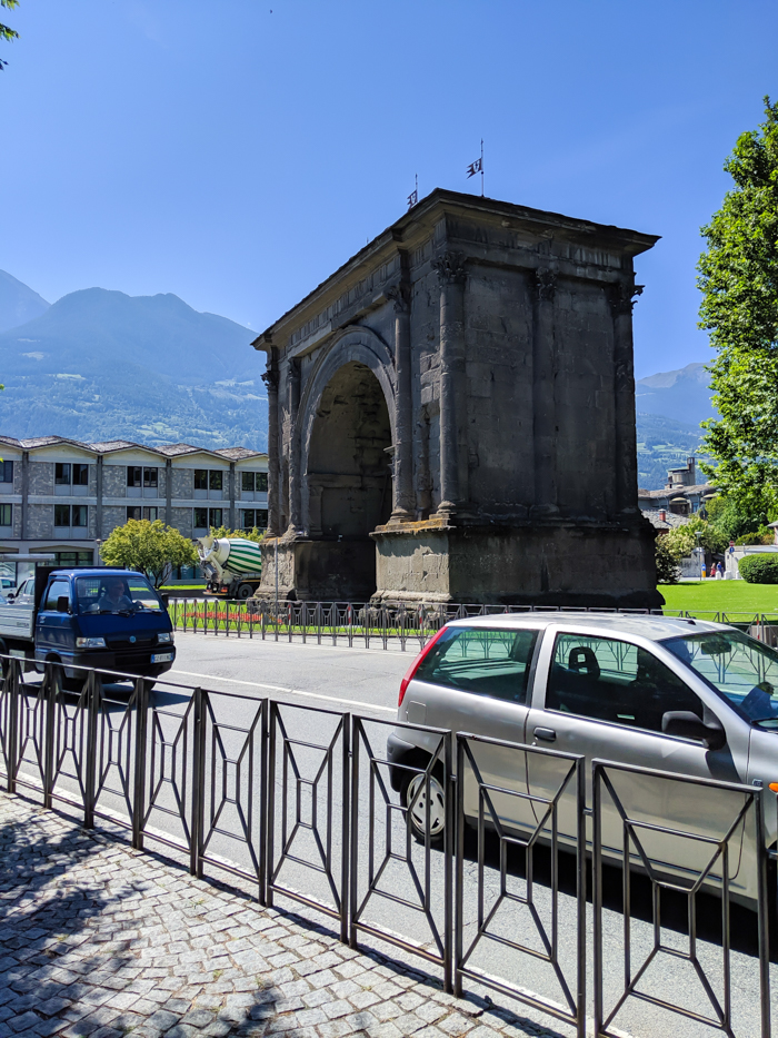 Arch of Augustus   How to Spend 1 Day in Aosta, Italy // The Capital of the Aosta Valley   Things to see in Aosta, Things to do in Aosta, Where to eat in Aosta, the smallest of Italy's 20 regions #aosta #italy #aostavalley #traveltips #timebudgettravel #romanruins #ancient #ruins