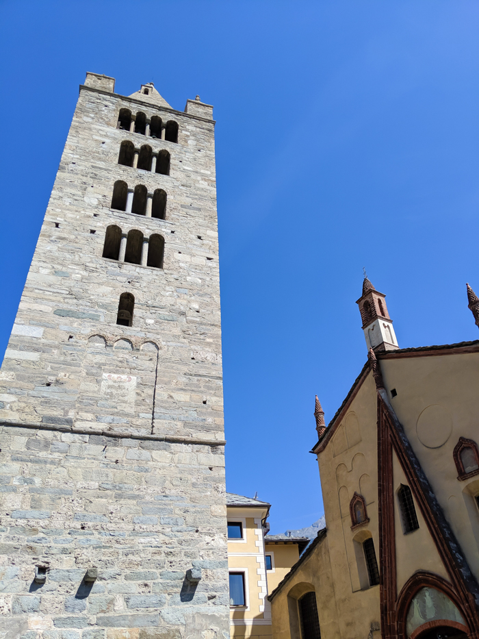 Collegiate Church and Cloister of Saint Orso bell tower   How to Spend 1 Day in Aosta, Italy // The Capital of the Aosta Valley   Things to see in Aosta, Things to do in Aosta, Where to eat in Aosta, the smallest of Italy's 20 regions #aosta #italy #aostavalley #traveltips #timebudgettravel #romanruins #ancient #ruins #church