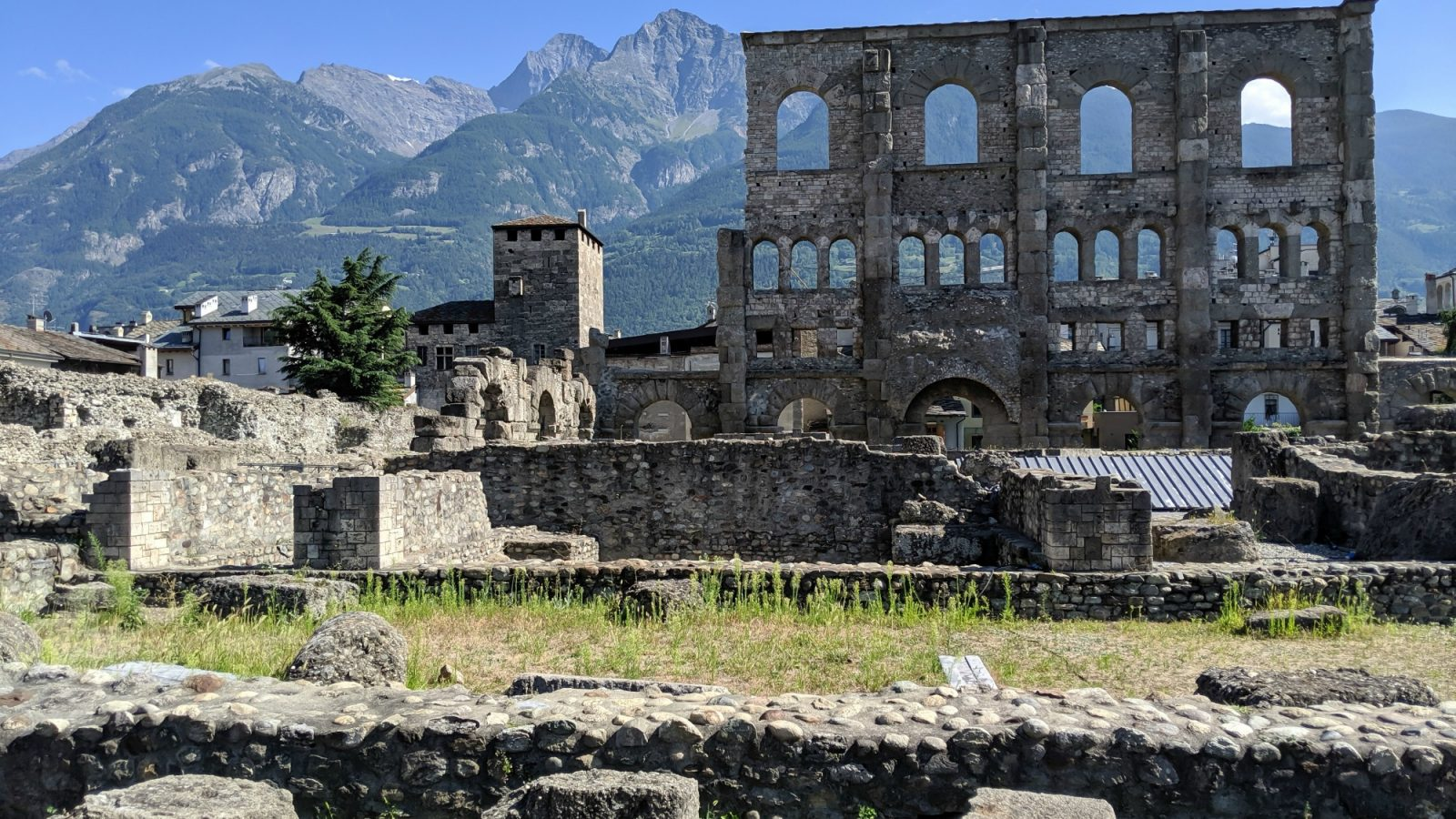 Roman Theater, roman ruins   How to Spend 1 Day in Aosta, Italy // The Capital of the Aosta Valley   Things to see in Aosta, Things to do in Aosta, Where to eat in Aosta, the smallest of Italy's 20 regions #aosta #italy #aostavalley #traveltips #timebudgettravel #romanruins #ancient #ruins