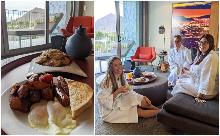 Brunch in the room at the Hotel Valley Ho, iconic mid-century modern design | Where to Stay in Scottsdale, Arizona for two very different experiences | #hotelvalleyho #scottsdale #arizona #wheretostay #brunch