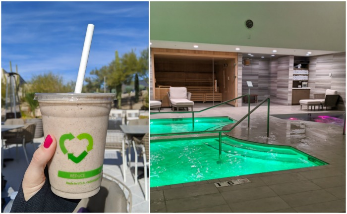 Healthy smoothie and the aqua therapy circuit at Civana Wellness Resort and Spa | Where to Stay in Scottsdale, Arizona for two very different experiences | #civana #spa #scottsdale #arizona #wheretostay