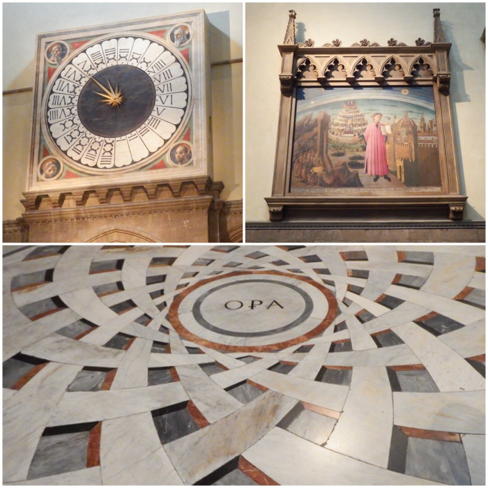 The interior highlights of Il Duomo, Cathedral of Santa Marie del Fiore (24-hour clock, painting of Dante, marble floor) / 2 days in Florence, Italy