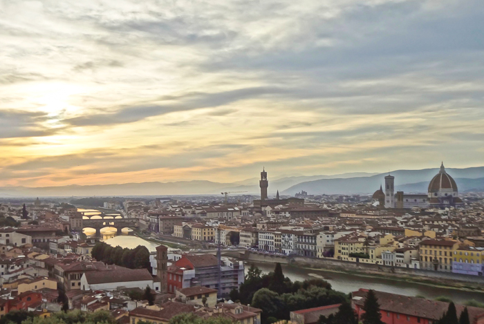View of Florence from Piazzale Michelangelo at sunset / 2 days in Florence, Italy