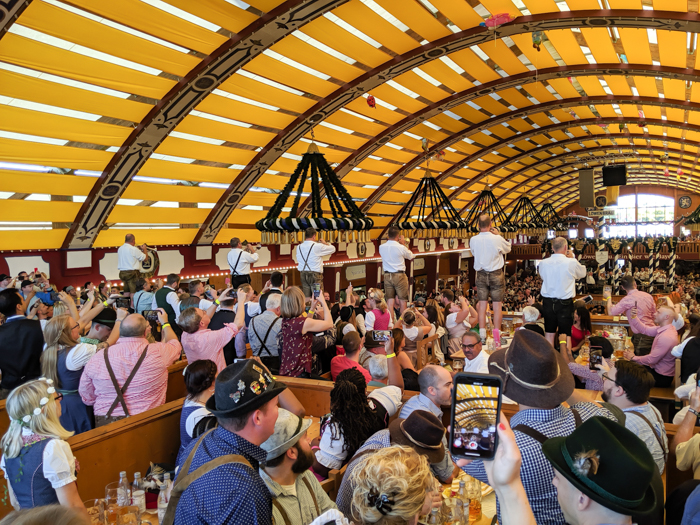 The band at the Lowenbrau beer tent at Oktoberfest in Munich, Germany