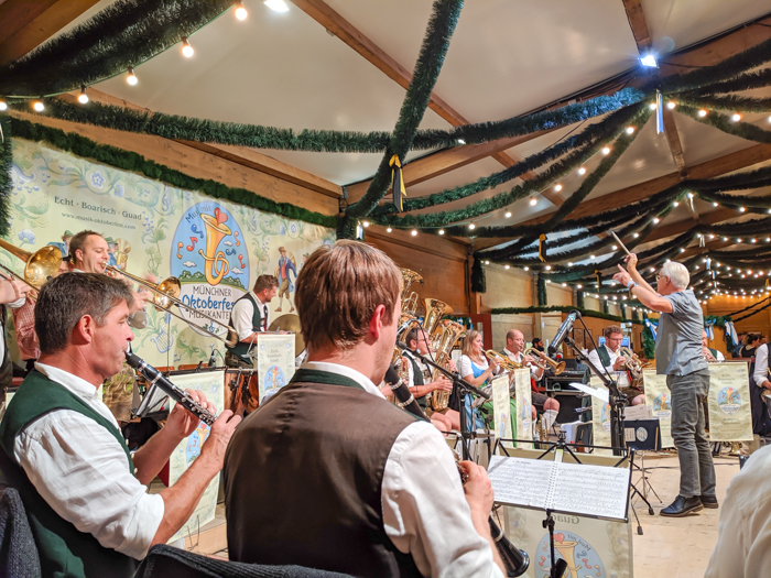 The band at the Festzelt Tradition in the Oide Wiesn at Oktoberfest in Munich, Germany
