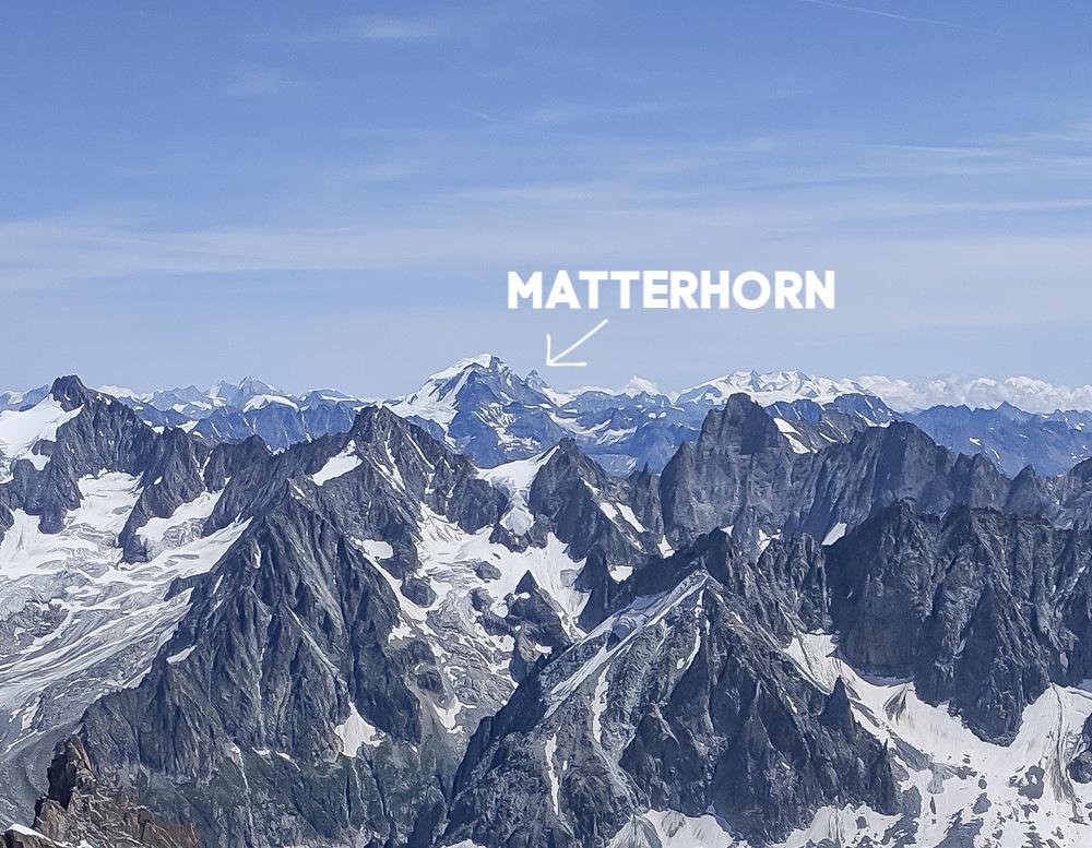 Aiguille du Midi summer visitor's guide, Chamonix, France: view of the Matterhorn in Switzerland