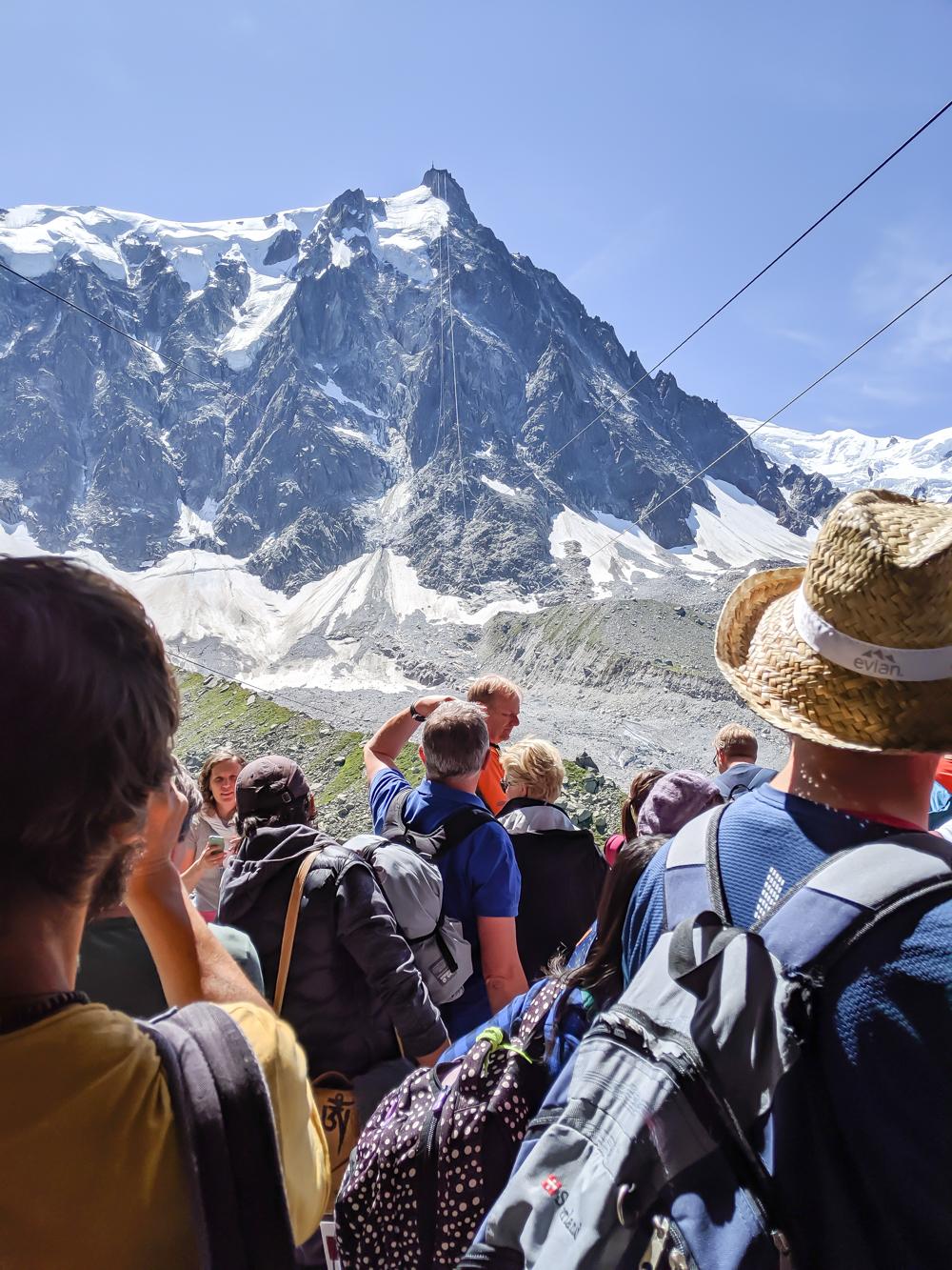 Aiguille du Midi summer visitor's guide, Chamonix, France: waiting for the cable car at Plan de l'Aiguille