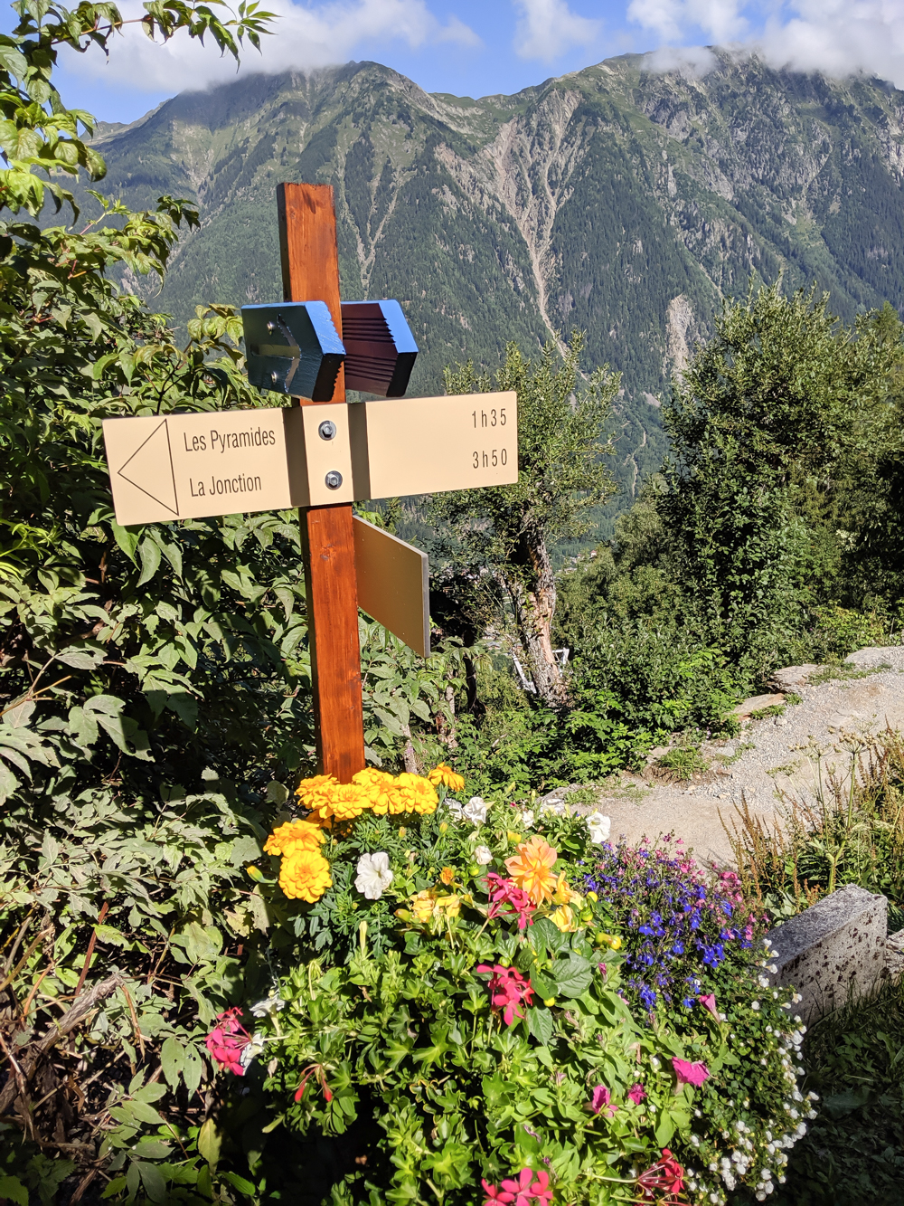Best hikes in Chamonix: Plan de l'Aiguille to Mer de Glace and Montenvers on the Grand Balcon Nord / best day hikes in Chamonix / Mer de glace glacier, hiking in chamonix / trail signs and flowers