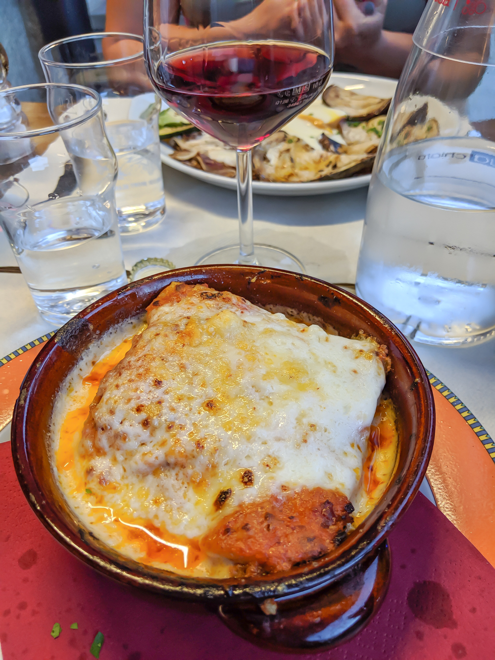 Day trip to Courmayeur, Italy from Chamonix, France / lasagna at ancien casino