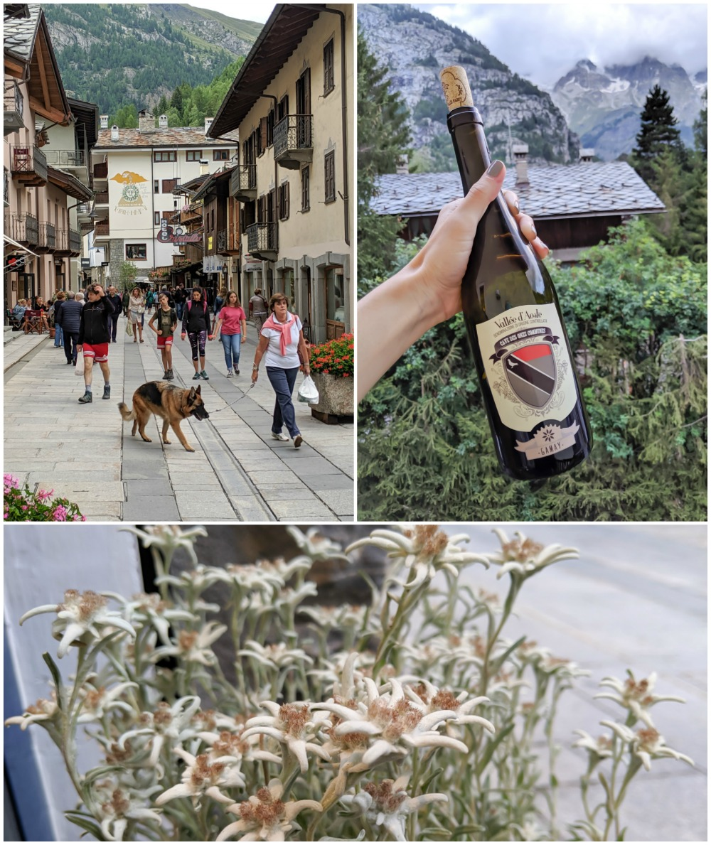 Day trip to Courmayeur, Italy from Chamonix, France / best day hike from courmayeur, edelweiss, wine, passeggiata