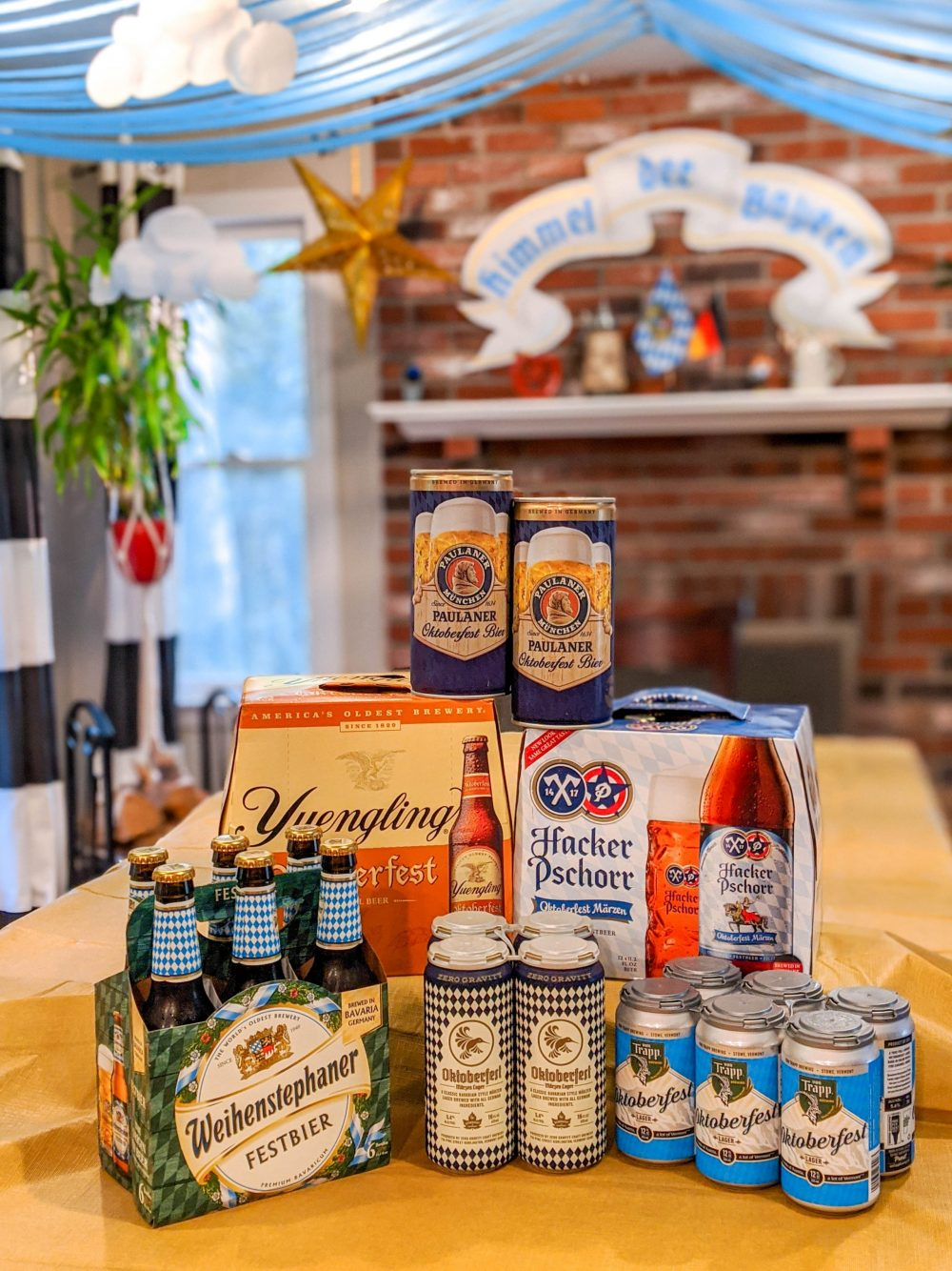 Stack of Oktoberfest beers in a kitchen