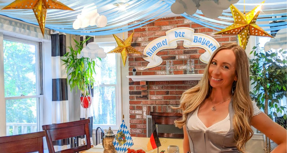 Home kitchen decorated like an Oktoberfest beer tent