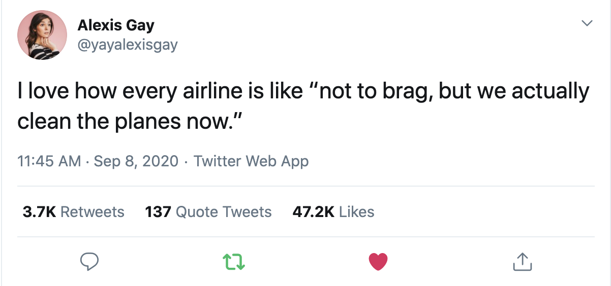 Airlines during covid tweet