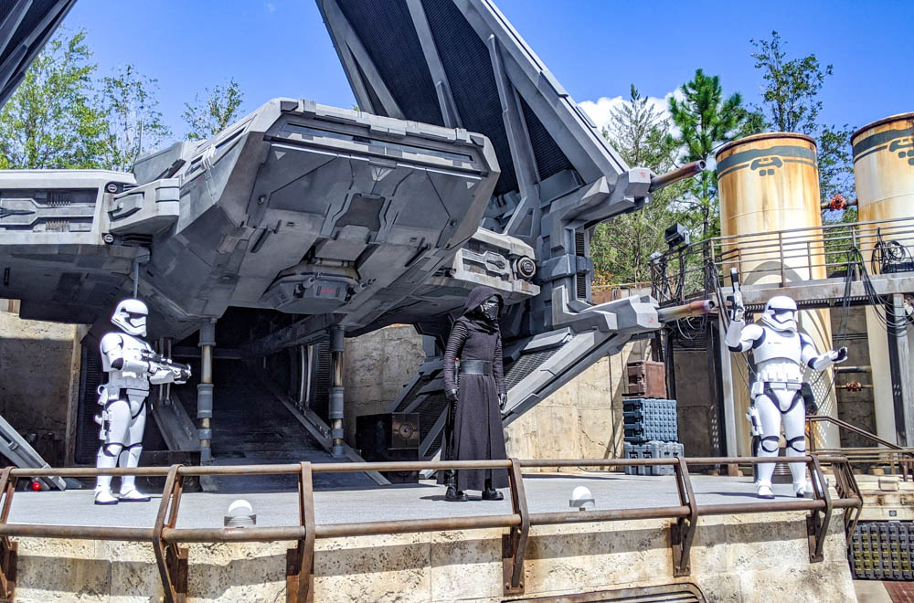 Visiting Disney World During the Pandemic: Everything You're Dying to Know | Disney World in 2020, what it's like to visit disney world right now. | Kylo Ren and stormtroopers at Star Wars: Galaxy's Edge in Hollywood Studios