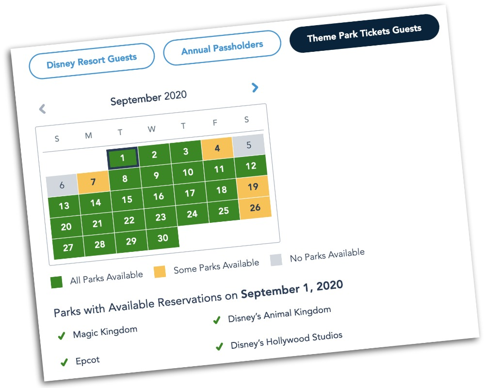 Visiting Disney World During the Pandemic: Everything You're Dying to Know | Disney World in 2020, what it's like to visit disney world right now. | park reservation ability calendar