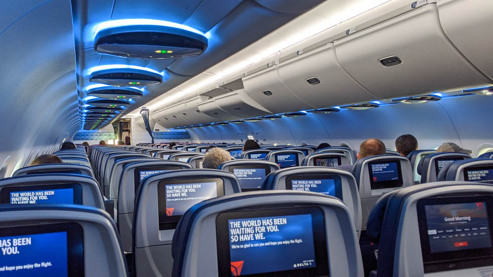 Nearly empty airplane during the pandemic