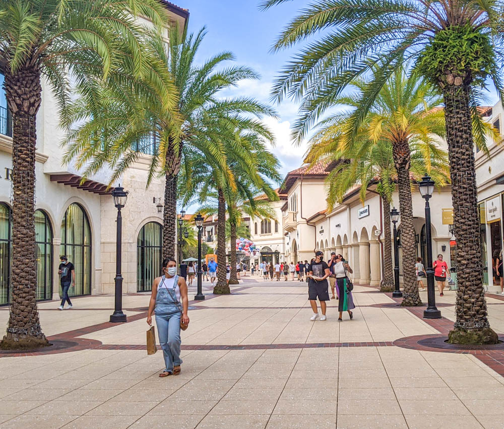 people walking on palm-tree lined shopping centers at Disney Springs during the pandemic