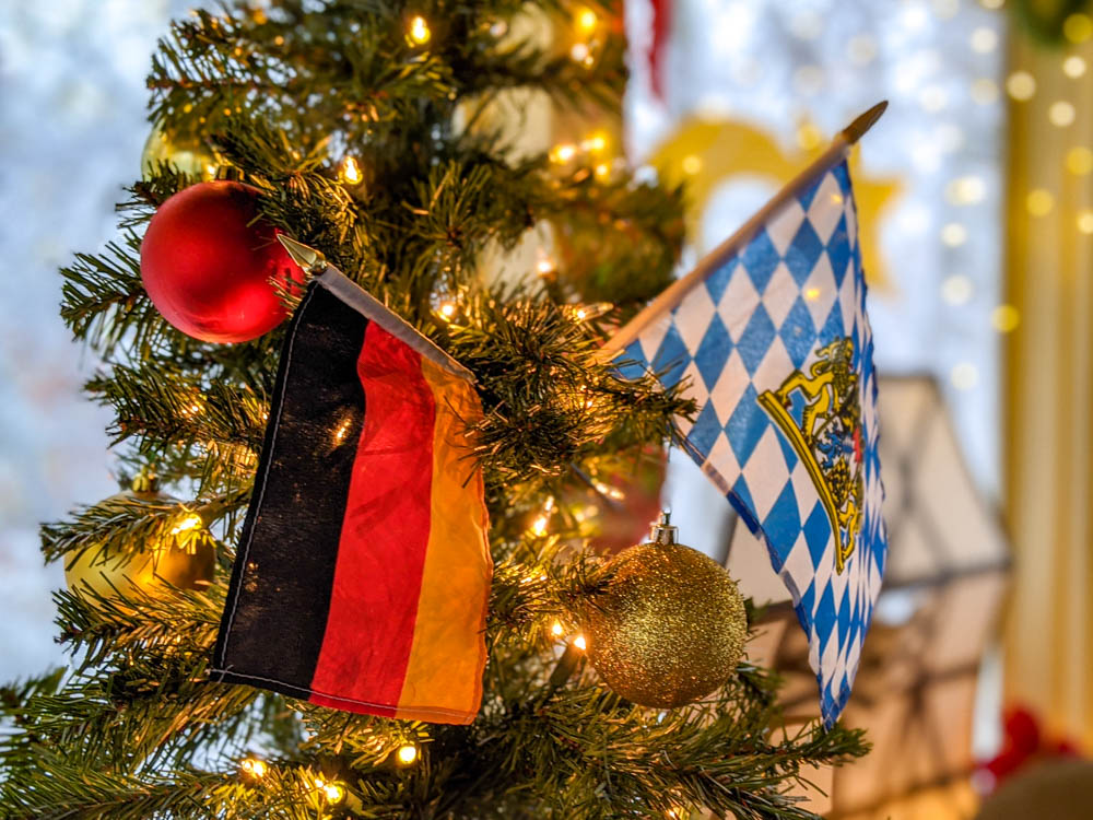 German and Bavarian flags in a Christmas Tree