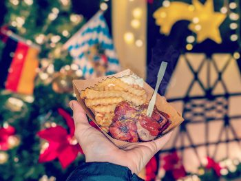 German Christmas market foods and drinks you can enjoy at home (with recipes) | Things like currywurst, schneeballen, stollen, flammkuchen, mushrooms, waffles, potato pancakes, almonds, and more!