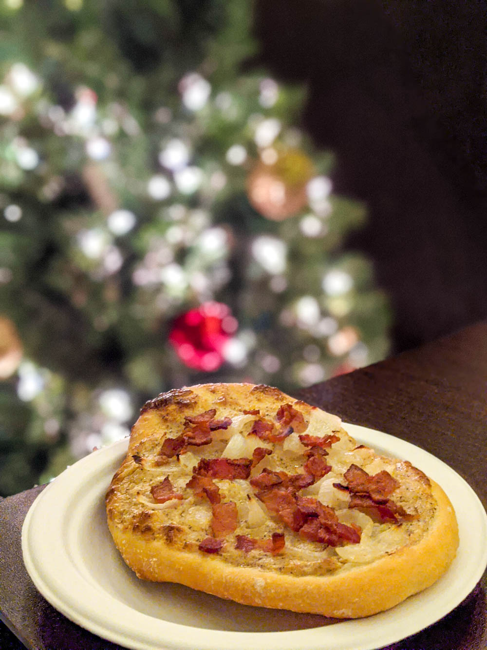 German Christmas market foods and drinks you can enjoy at home (with recipes) | traditional bacon and onion flammkuchen