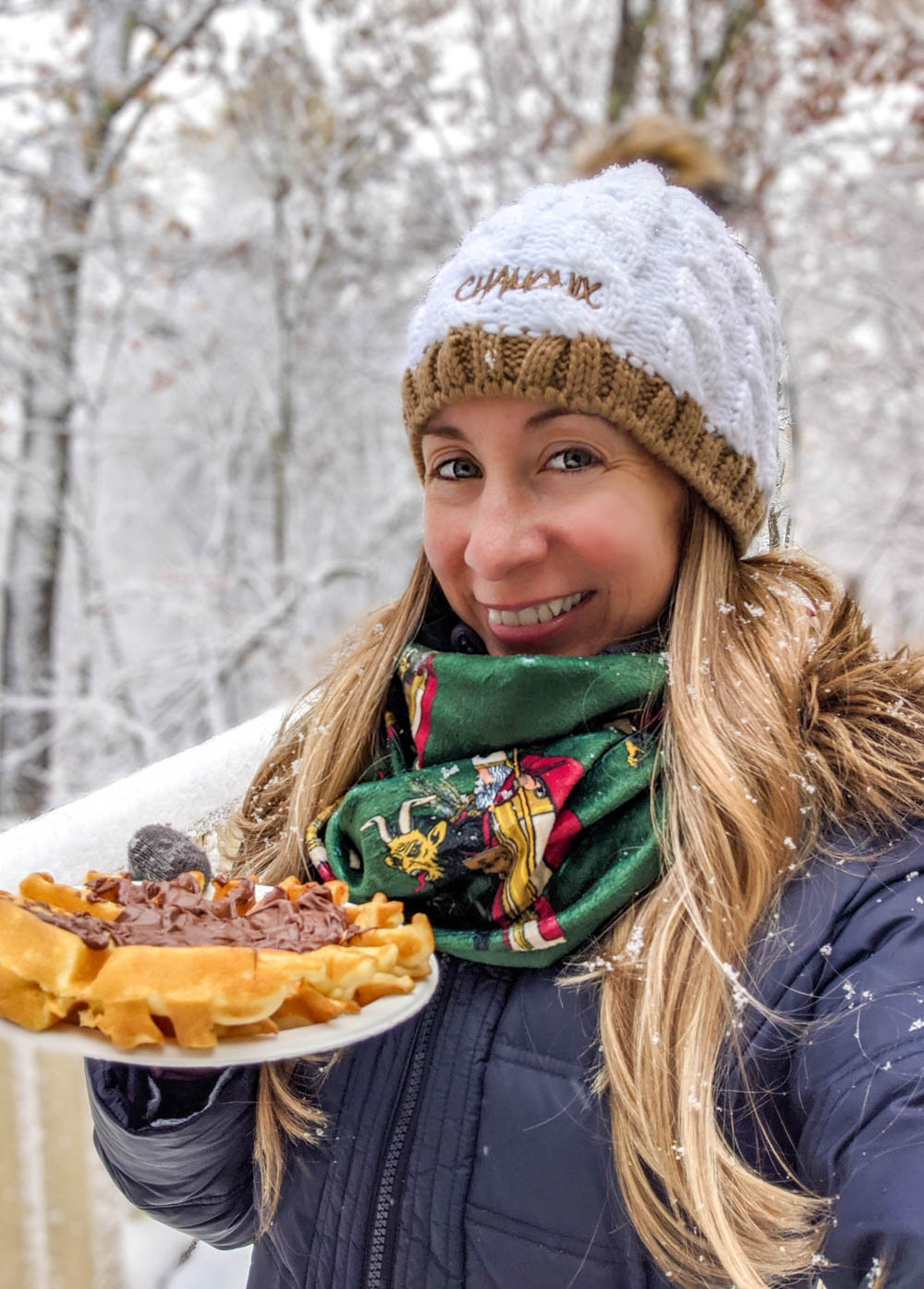 Eating waffles with nutella in the snow