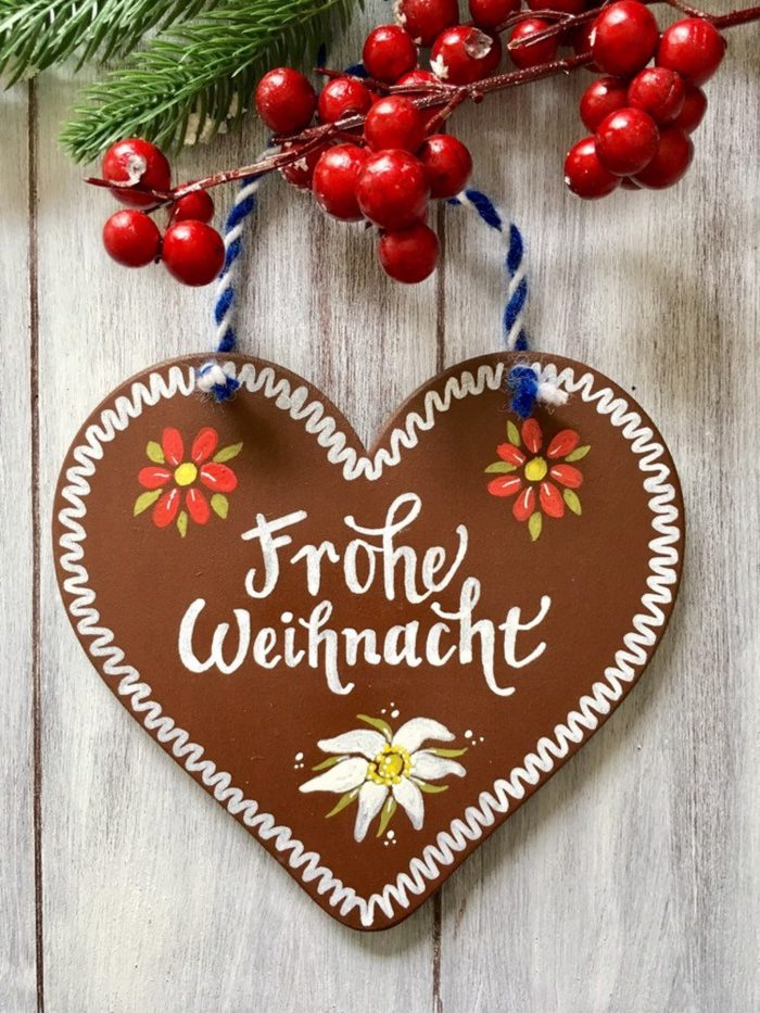 oktoberfest gift ideas, perfect gifts for oktoberfest lovers: frohe weihnacht gingerbread heart cookie christmas tree ornament