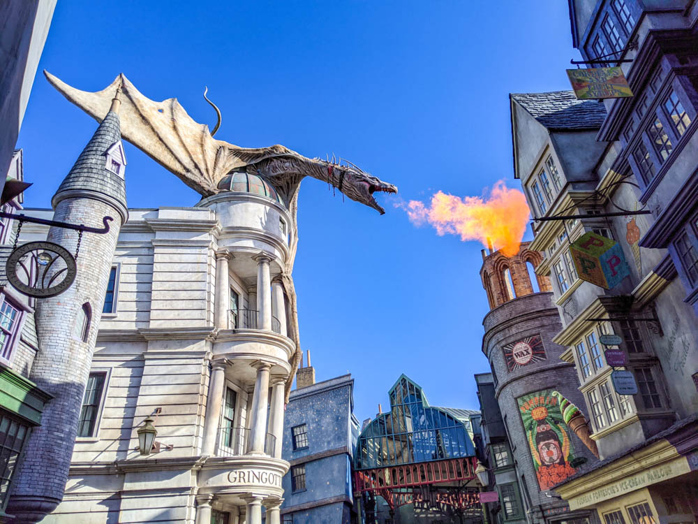 Gringotts dragon at Universal Orlando during the pandemic