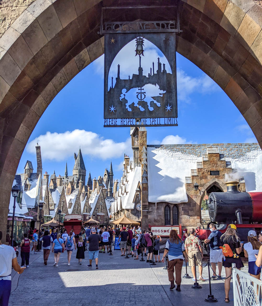 Entrance to Hogsmeade at Universal Orlando during the pandemic