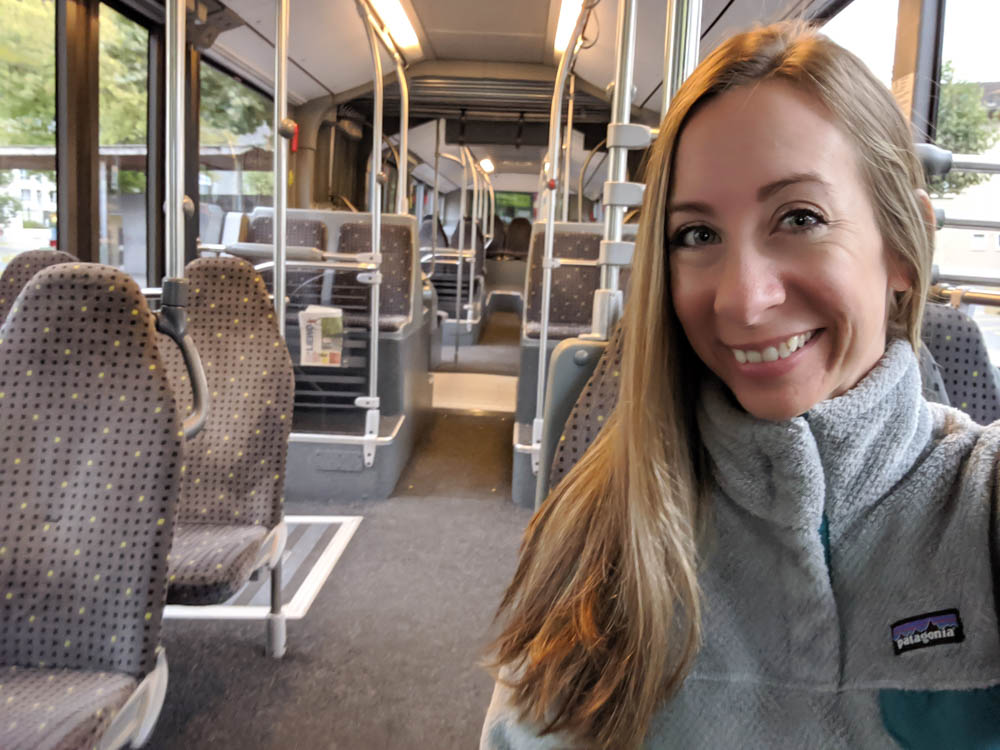 Alone on a bus in Liechtenstein| Must-Have Travel Safety Items: 17 Essentials for Your Travel Safety Kit | Travel health and safety | solo female travel safety