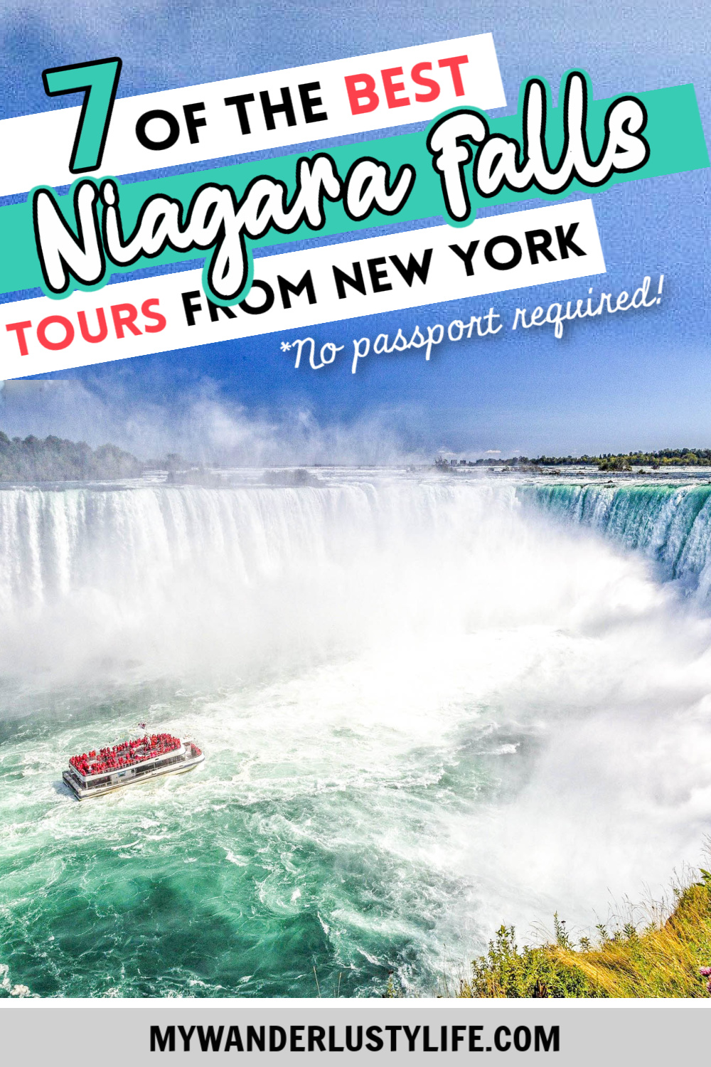 7 of the best niagara falls tours from new york, check out Niagara Falls from the American side, U.S. side. Maid of the Mist tour, jet boat tour, Rainbow Bridge, and more! #mywanderlustylife #niagarafalls #newyork