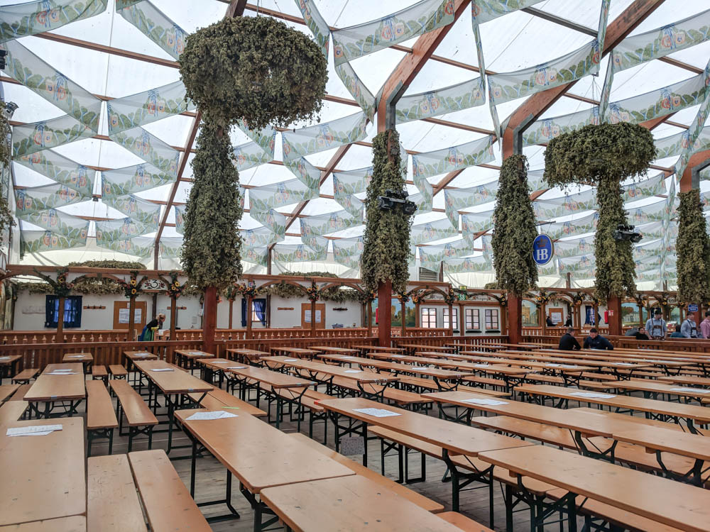 Empty Hofbräu tent   Will Oktoberfest 2021 take place? Is Oktoberfest 2021 going to be canceled? All the info you need to know like what to do, how to plan ahead, official announcements out of Munich, Germany