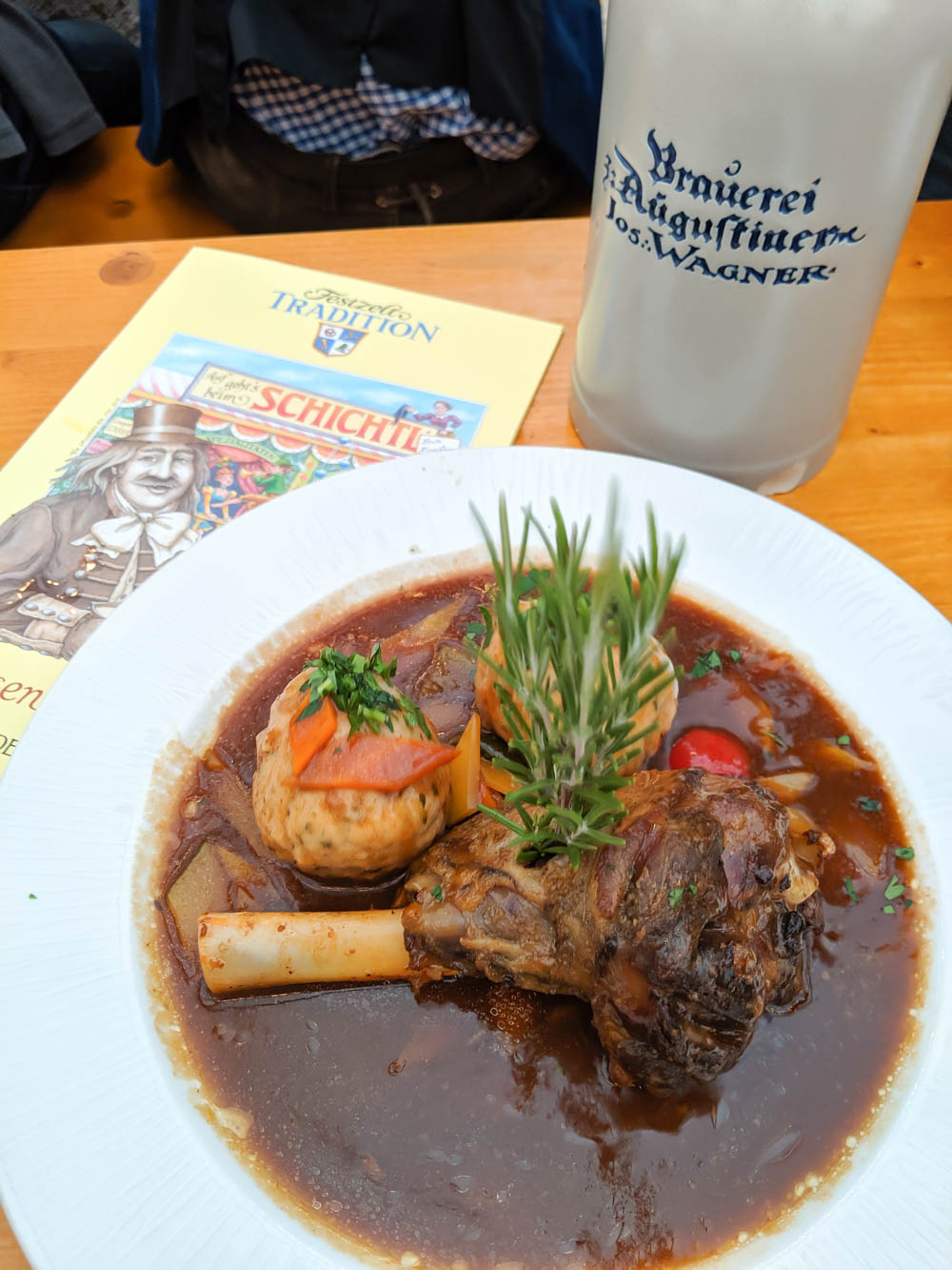 Meal inside Festzelt Tradition   Will Oktoberfest 2021 take place? Is Oktoberfest 2021 going to be canceled? All the info you need to know like what to do, how to plan ahead, official announcements out of Munich, Germany