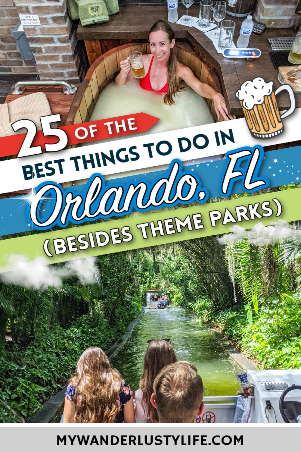 The Best Things to Do in Orlando, Florida besides theme parks | Craft beer, beer spa, water sports, adventure activities, museums, history, art, culture, shopping, dining, and so much more.