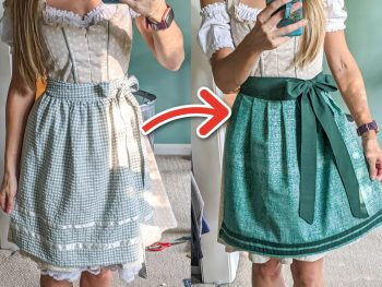 12 Super Easy Ways to Upgrade a Cheap Dirndl for Oktoberfest: Simple Oktoberfest Outfit Hacks; What to wear for Oktoberfest, how to upgrade your dirndl; DIY Oktoberfest outfit for women; upgrade your dirndl apron, blouse, and more.
